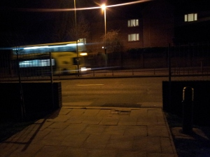 Night time car passes